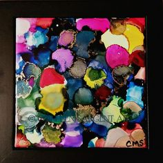 Spring Bubbles Forth $45 This beautifully painted 6x6 inch tile is mounted in a black frame, resulting in a final size of 8x8 inches.  The painting is sealed with a light coat of varnish for protection and is ready to hang. Sargent Art, Tile, Bubbles, Canvas, Spring, Coat, Frame, Painting, Black