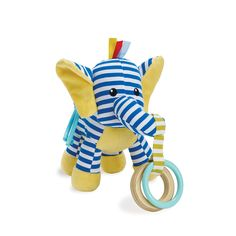 Elephant fun for the little one. Soft toy elephant has an eye-catching blue and white striped body with yellow accents. Includes 1 wooden and 1 plastic teether, ribbon and plastic linkable loop for ea