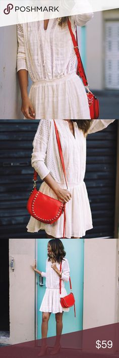"""Women's free people ivory long sleeve dress Women's free people """"nomad"""" ivory peasant dress. Long sleeve. Sheer, crocheted insets and tiny pin tuck pleats amplify the boho airy style. 35 1/2"""" length. Free People Dresses Long Sleeve"""