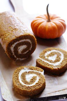 Pumpkin Roll Recipe   gimmesomeoven.com Classic pumpkin dessert! Sub GF flour with extra gums