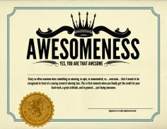 certificate of awesomeness template free