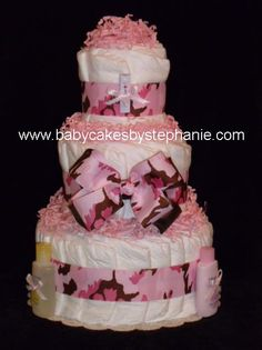 camo Diaper Cake | approximately 40 pampers swaddlers diapers paper crinkle j j travel ...