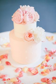 Style Me Pretty | GALLERY & INSPIRATION | CATEGORY: CAKES | PHOTO: 836500.  Love the rose petals on the table