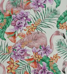 Flamingo Club Ivory, Fuchsia & Coral wallpaper by Matthew Williamson