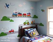 Children Wall Decal Wall Sticker -Transportation - Truck, Train, Airplane wall decal - dd1065. $150.00, via Etsy.