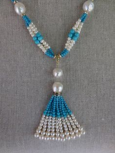 Woven Cluster Pearl and Turquoise Sautoir with Baroque Pearl Highlights 2
