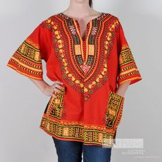 Dashiki Tunic in Red Yellow Black and Green by Bethlesvintage