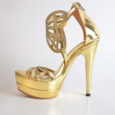 79.00$  Watch here - http://ali3zc.worldwells.pw/go.php?t=32708676893 - Gold Hollow-out Faux Leather Women's Stiletto Heel Platform Sandals Shoes   Fashion Comfortable Ankle Warp Solid Zip Fretwork 79.00$
