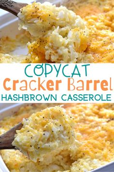 This homemade CopyCat Cracker Barrel Hashbrown Casserole is so cheesy and so easy to make right at home. Needs just 5 minutes of prep and is delicious! Easy Hashbrown Casserole Recipe, Cracker Barrel Hashbrown Casserole, Hashbrown Breakfast Casserole, Hash Brown Casserole, Easy Casserole Recipes, Potluck Recipes, Breakfast Recipes, Breakfast Dishes, Cracker Barrel Biscuits