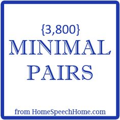 3800+ Minimal Pairs for Speech Therapy Practice Follow all our boards at pinterest.com/linguahealth for our latest therapy pins and visit linguahealth.com for even more resources  I LOVE minimal pairs!!