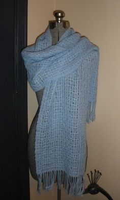 handwoven huck lace shawl