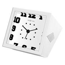 "Nextime ""Be Square"" 17cm White Alarm Clock"