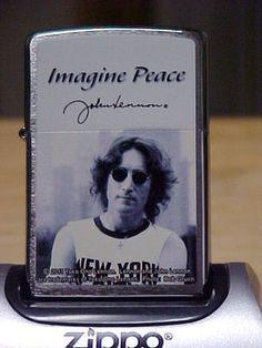 """CUSTOM DESIGN ZIPPO """"JOHN LENNON IMAGINE PEACE"""" DESIGN LIGHTER"""