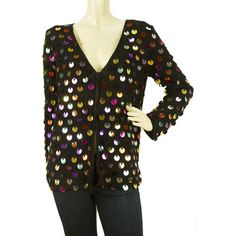 0e618a0bded Μ MISSONI Black Cotton knit Large Multicolored Sequins Cardigan Top size IT  44 Sequin Cardigan,