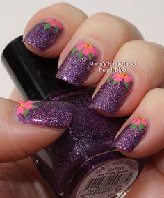 Half moon floral nail art