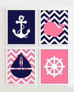 Nautical Prints Navy and Pink set of 4 8x10 JPG par PrincessSnap