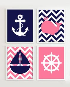 Nautical Prints, Navy and Pink set of 4, 8x10 JPG Printables, Girl Beach Ocean Sea more colors available - R