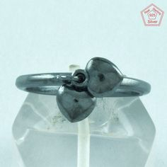 Oxodised 925 Sterling Silver Double Heart Design Ring Jewelry S.5.5 US R2712…