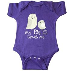 Inktastic My Big Sis Loves Me Infant Creeper Baby Bodysuit Sister Siblings Little Owl Cute Childs Lover Gift Family One-piece Hws, Infant Boy's, Size: 18 Months, Purple