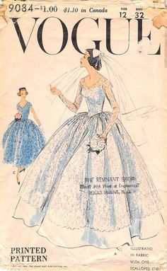 VOGUE 9084 FROM 1960 - UNCUT - BRIDE OR BRIDESMAID DRESS AND SLIP - SIZE 12