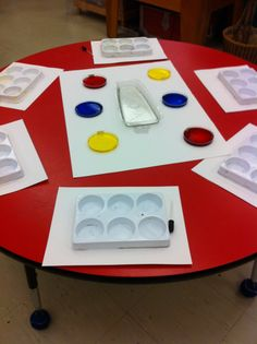 Colour mixing with food colour and water.