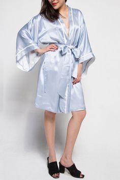 Powder blue and white double layered kimono by maisongabrielle