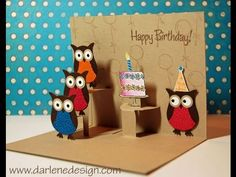Stampin' Up! ... hand crafted birthday card: Advanced Two Step Owl Punch Pop-Up Card ... YouTube video tutorial ...