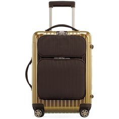 Rimowa Salsa Deluxe Hybrid Cabin Multiwheel Upright (2,605 SAR) ❤ liked on Polyvore featuring bags, luggage and pearl gold