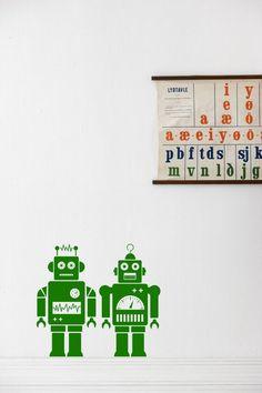 Ferm Living Muursticker groen vinyl 40x50cm Robots