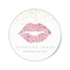 glam faux pink glitter lipstick kiss classic round sticker - glitter gifts personalize gift ideas unique