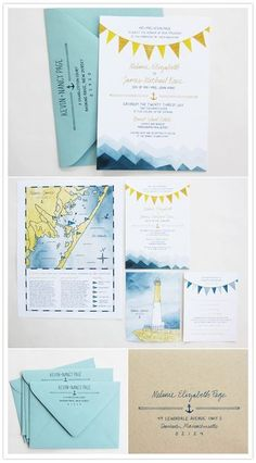 Semi-nautical wedding stationery would be very cute with the Marquette theme to it with the light house where he proposed and map of area with lake Superior. These also are navy and turquoise! Nautical Wedding Invitations, Nautical Wedding Theme, Wedding Stationary, Nautical Party, Seaside Wedding, Wedding Favors, Wedding Paper, Wedding Cards, Invitation Design