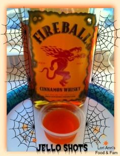 2 Cups Apple Cider 1 Small box Orange Jello 1 Cup Fireball Whiskey Bring Apple Cider to a boil in saucepan. Remove from heat. Add orange jello and dissolve. Pour into jello shot containers and refrigerate until set. Fireball Jello Shots, Jello Pudding Shots, Fireball Whiskey, Whiskey Bottle, Jello Shooters, Orange Jello Shots, Fireball Recipes, Whiskey Shots, Party Drinks
