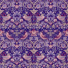 William Morris ~ Strawberry Thief ~ Violet fabric by peacoquettedesigns on Spoonflower - custom fabric, wallpaper, wall decals & gift wrap