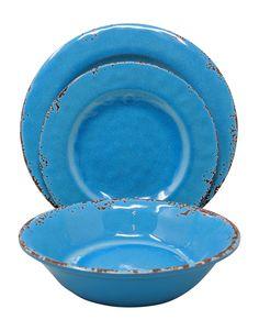 PIER 1 Waterways Blue MELAMINE 8 pc Salad PLATES