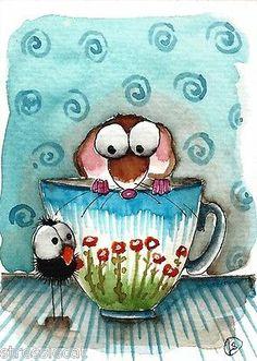 ACEO Original Watercolor Folk Art Illustration Painting Mouse Tea Cup Crow   eBay