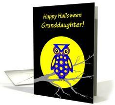 Granddaughter Halloween Owl W Big Yellow Moon on Tree Branch card