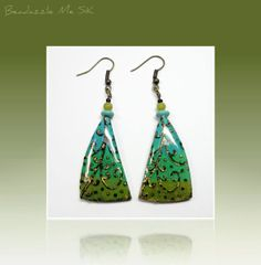 polymer clay Turquiose Patina Ethnic Earrings by BeadazzleMe, $16.00