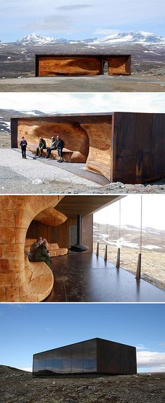 SNOHETTA - norwegian wild reindeer center pavilion - looks like a (corteen) steel structure with one glazed side and one wooden sculptural side with seating. Pavilion Architecture, Organic Architecture, Contemporary Architecture, Amazing Architecture, Landscape Architecture, Architecture Details, Interior Architecture, Interior And Exterior, Landscape Design