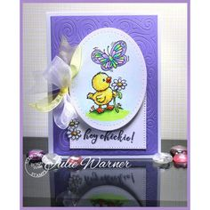 Serendipity Stamps Swirl Cuts Background Die and Chick With Butterfly Stamp set
