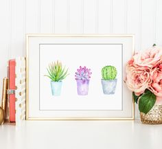 No.74 Watercolor succulent plant in pots, aloe vera, cactus, kitchen decor, bathroom decor, wall art by DigitalCornerCroft on Etsy https://www.etsy.com/listing/280232802/no74-watercolor-succulent-plant-in-pots