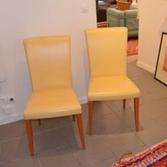 Poltrona Frau Vittoria Chaises en cuir en jaune (Banana) Couleur - 6 Av. Vendu par 2