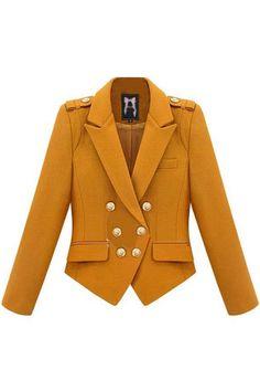 #Romwe Epaulets Decorative Double Breasted Mustard Coat