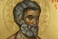 Saint Peter Hand-Painted Byzantine Icon on Wood Byzantine Art, Byzantine Icons, Simon Peter, Paint Icon, Religious Icons, Orthodox Icons, Halo, Prince, Therapy