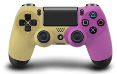 Custom PS4 controller  Wireless Glossy half Green Beige and Half Red Lilac