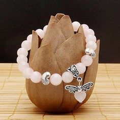 Rose Quartz stretch bracelet Heart Pendulum butterfly 7 inches in Jewelry & Watches, Handcrafted, Artisan Jewelry, Bracelets Gemstone Bracelets, Ankle Bracelets, Stretch Bracelets, Handmade Bracelets, Gemstone Jewelry, Beaded Jewelry, Handmade Jewelry, Jewelry Bracelets, Jewelry Watches