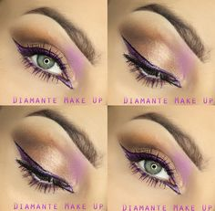 gold makeup with violet