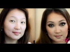Макияж для плоского/нависшего века/визуальное увеличение глаз - YouTube