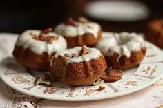 vanilla einkorn mini bundt cakes with vegan vanilla frosting! these are just like perfect little wholesome doughnuts!