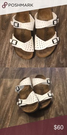 BRAND NEW WO TAGS Birkis White Leather Straps BRAND NEW Birkis White Leather Straps   #1120 Birkenstock Shoes Sandals