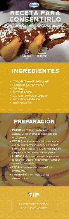 Prepara estas Quesadillas de plátano macho y consiéntelo después de un día de trabajo.   #recetas #receta #quesophiladelphia #philadelphia #crema #quesocrema #queso #comida #quesadillas #plátano #fruta #plátanomacho #quesadilla #salsa #chile #mole #cocina #recetasmexicanas